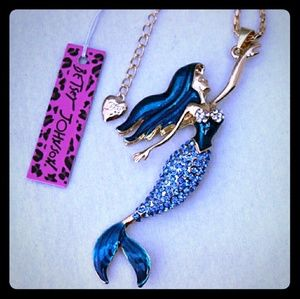 Jewelry - Betsey Johnson Blue Crystal Mermaid Necklace